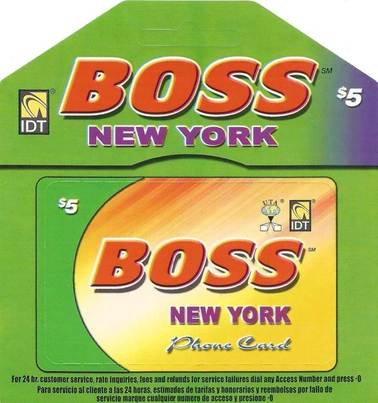 Boss New York American calling card $5
